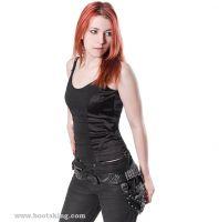 New Rock Gürtel schwarz mit kleiner Tasche