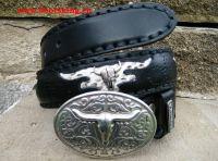 Sendra Gürtel schwarz mit Pythonleder und Schnalle