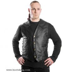 Black leather vest with side laces nappa