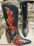 New Rock Westernstiefel Amidala schwarz / rot