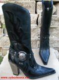 New Rock Westernstiefel Amidala schwarz / schwarz glänzend